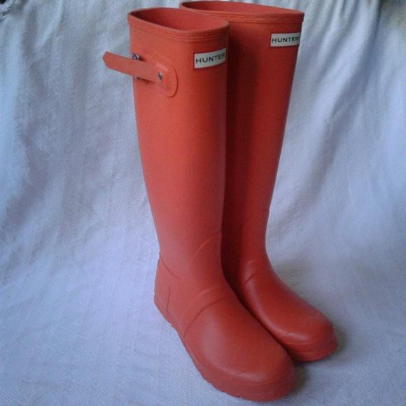 35857e15f17d1 Hunter Rain Boots Tall Original Tent Red 8 Orange